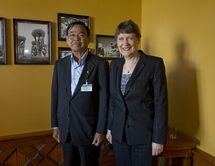 Helen Clark and Cambodian Minister of Environment Mok Mareth in Oslo